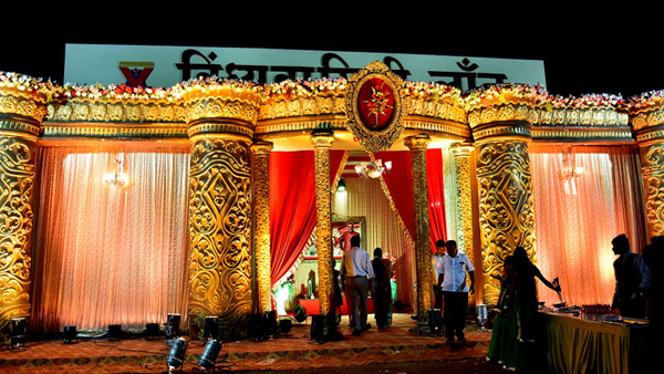 Wedding venue entrance gate decoration